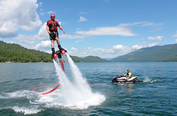 propelled with water from flyboarding